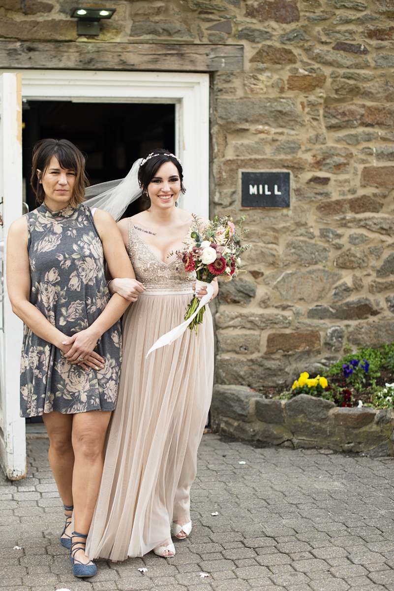 Blush and Gray Spring Wedding | Maryland Wedding | Bride with mom walking down aisle