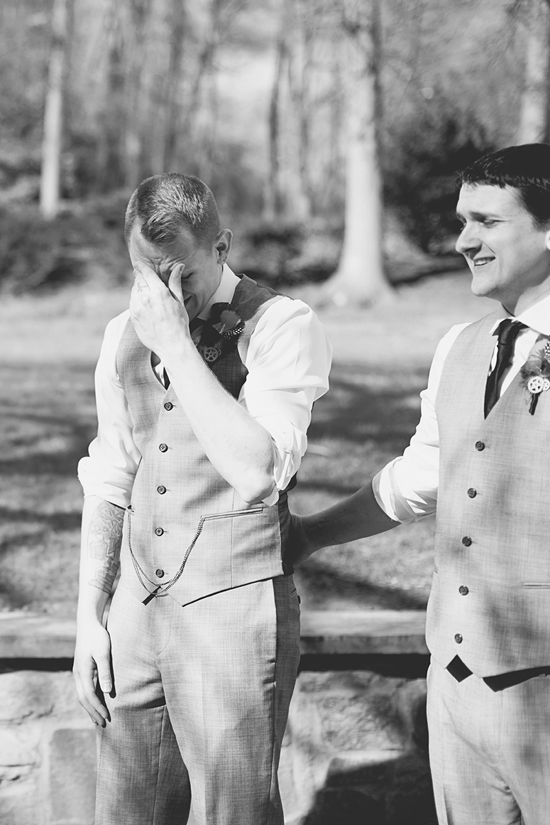 Blush and Gray Spring Wedding | Maryland Wedding | Groom's reaction to bride