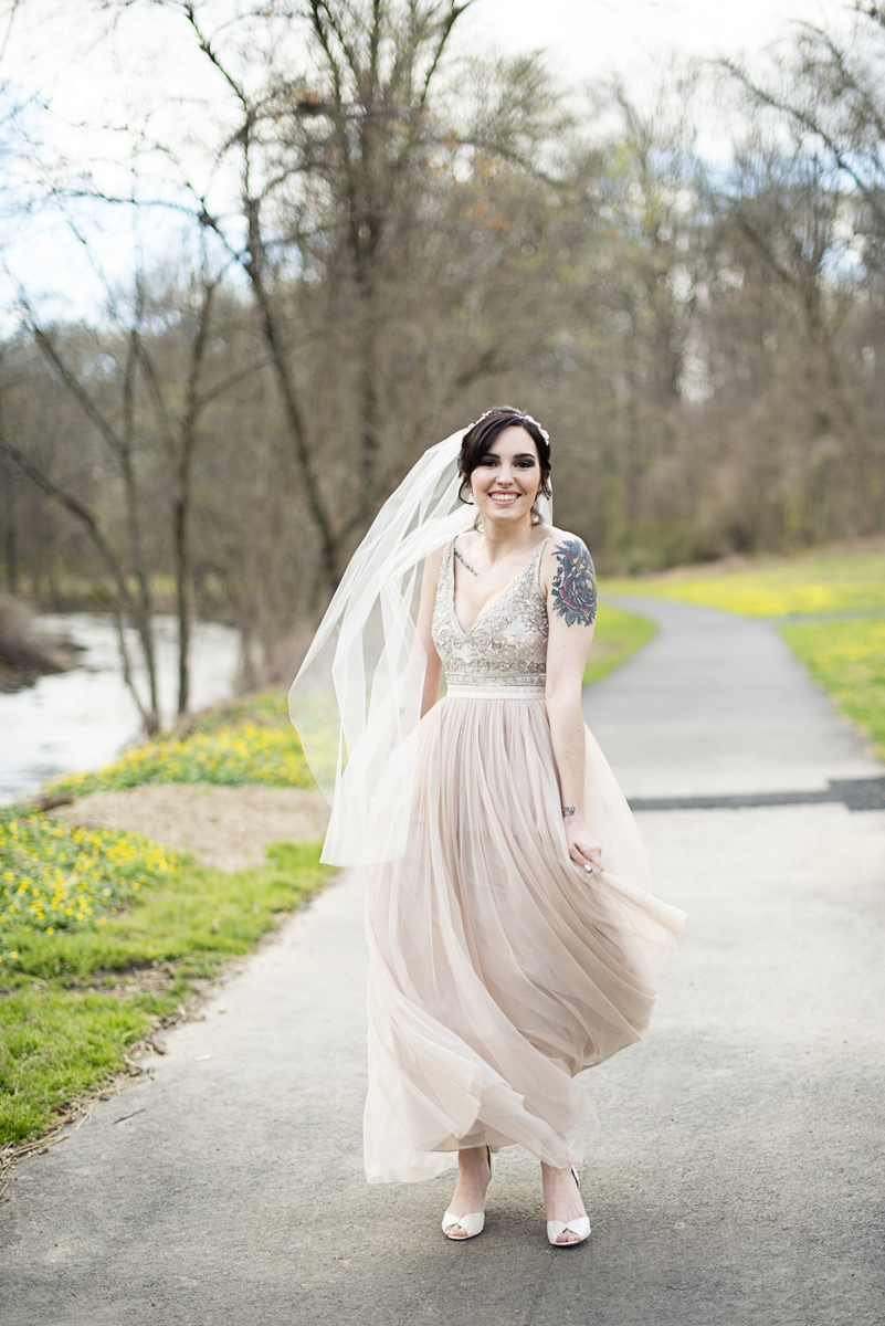 Blush and Gray Spring Wedding | Maryland Wedding | Bride in blush BHLDN dress
