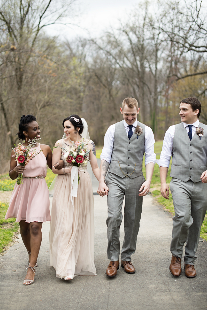 Blush and Gray Spring Wedding | Maryland Wedding | Blush and gray bridal party