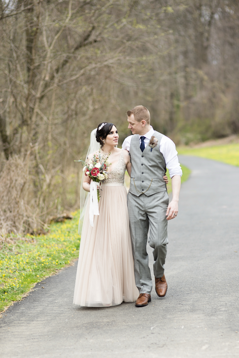 Blush and Gray Spring Wedding | Maryland Wedding |Tattooed bride and groom portraits