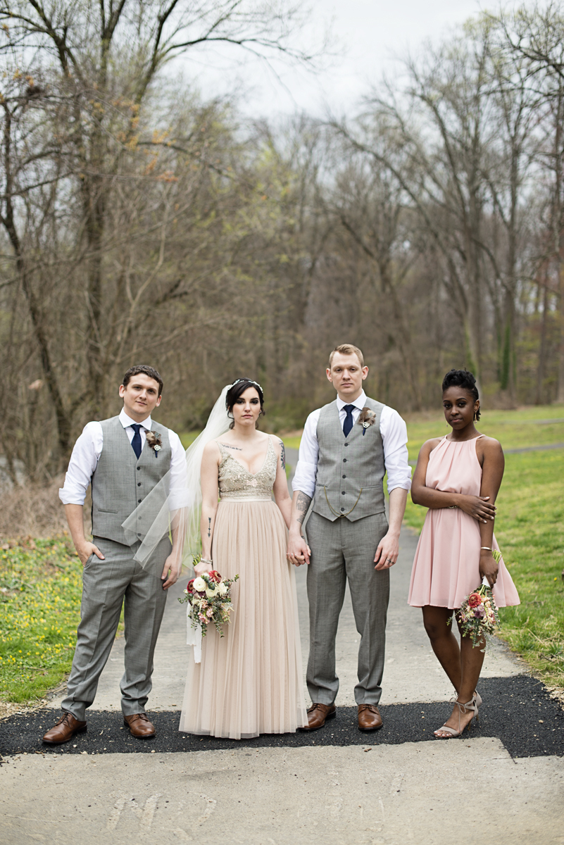 Blush and Gray Spring Wedding | Maryland Wedding | Blush and gray bridal party portraits