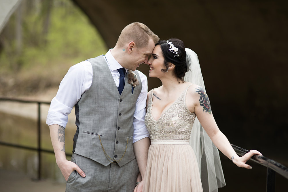 Blush and Gray Spring Wedding | Maryland Wedding | Tattooed bride and groom portraits