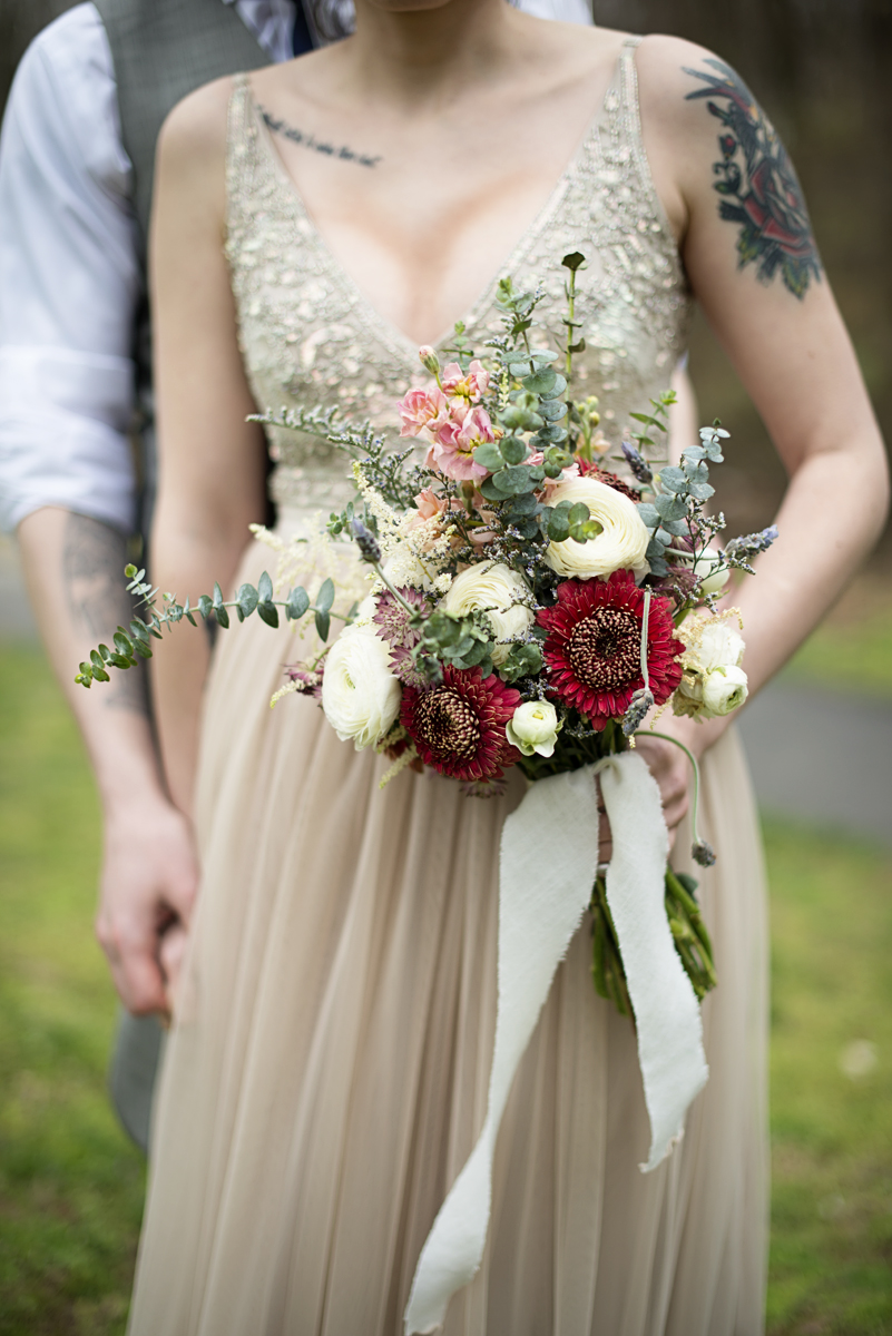 Blush and Gray Spring Wedding | Maryland Wedding | Cranberry, white, blush, and green bridal bouquet