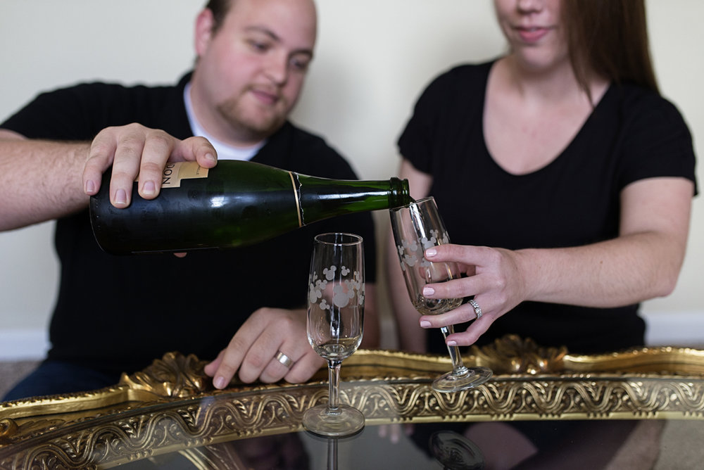 In-Home Lifestyle Session with Champagne