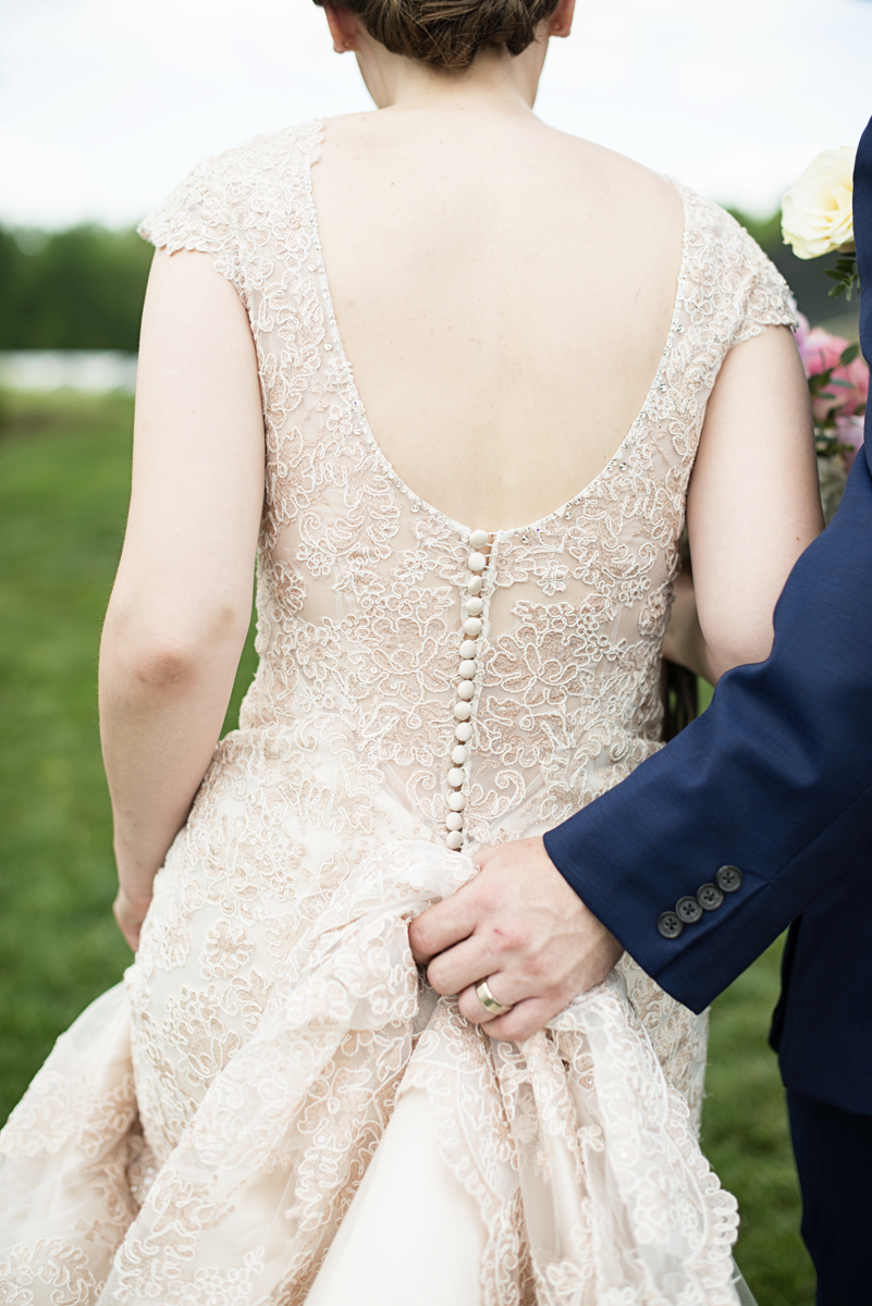 Elegant Summer Winery Elopement | Rose Gold and Blush Wedding Dress