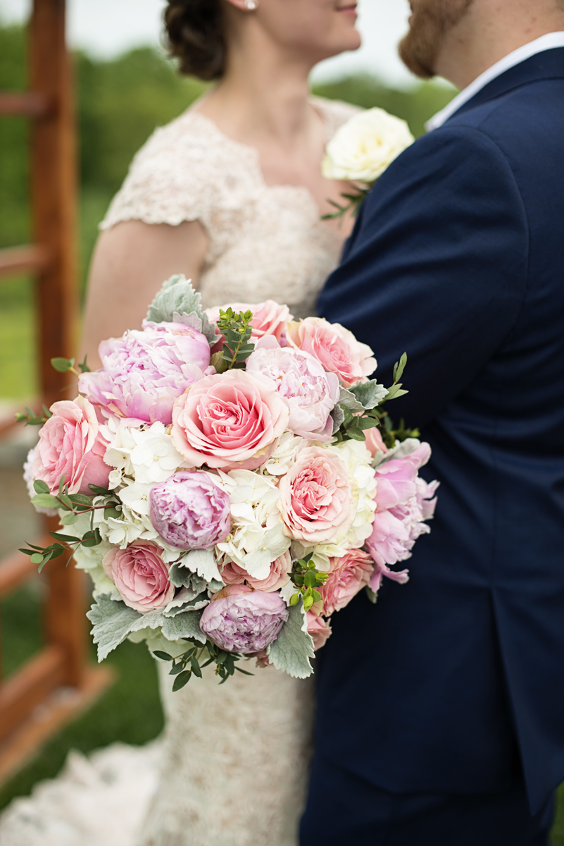 Elegant Summer Winery Elopement | Peony and Rose Bridal Bouquet