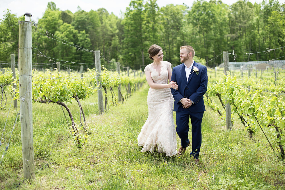 Elegant Summer Winery Elopement | Bride + Groom Portraits in Vineyard