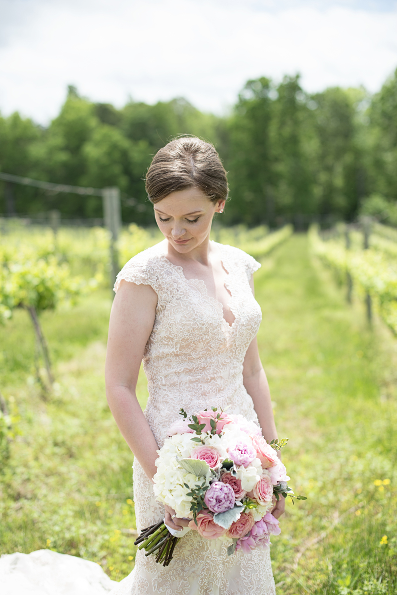 Elegant Summer Winery Elopement | Bridal Portrait