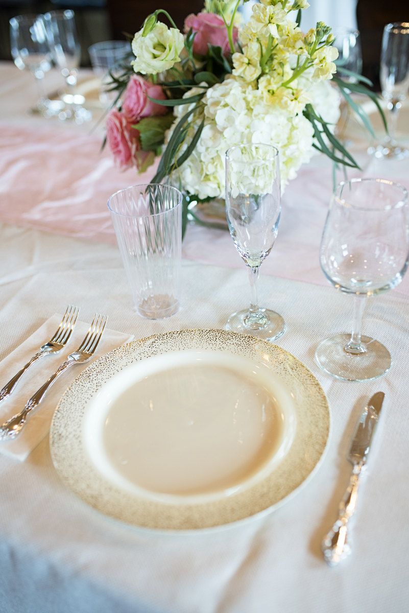Elegant Summer Winery Elopement | Gold Speckled Place Settings