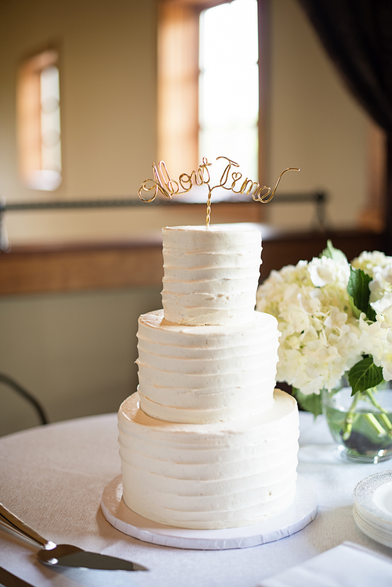 Elegant Summer Winery Elopement | White Wedding Cake with About Time Topper