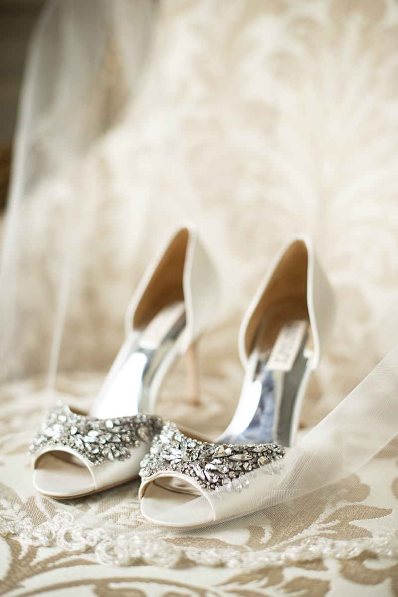 Albemarle Estate at Trump Winery Wedding | White and Silver Badgley Mischka Wedding Shoes
