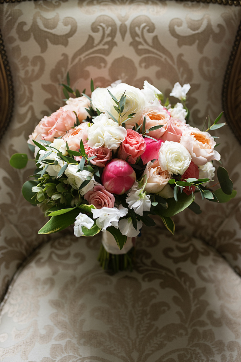 Albemarle Estate at Trump Winery Wedding | White and Pink Peony and Rose Bouquet
