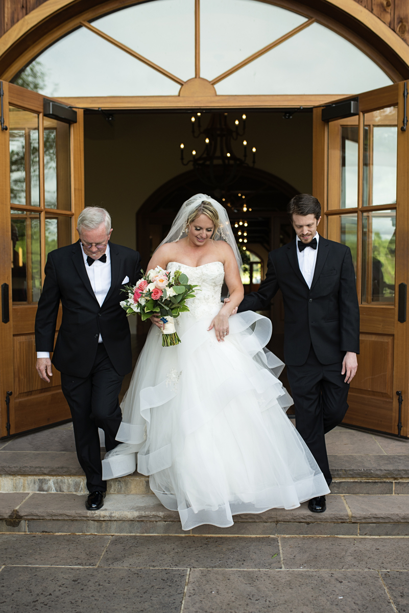 Albemarle Estate at Trump Winery Wedding | Bride escorted by father and brother