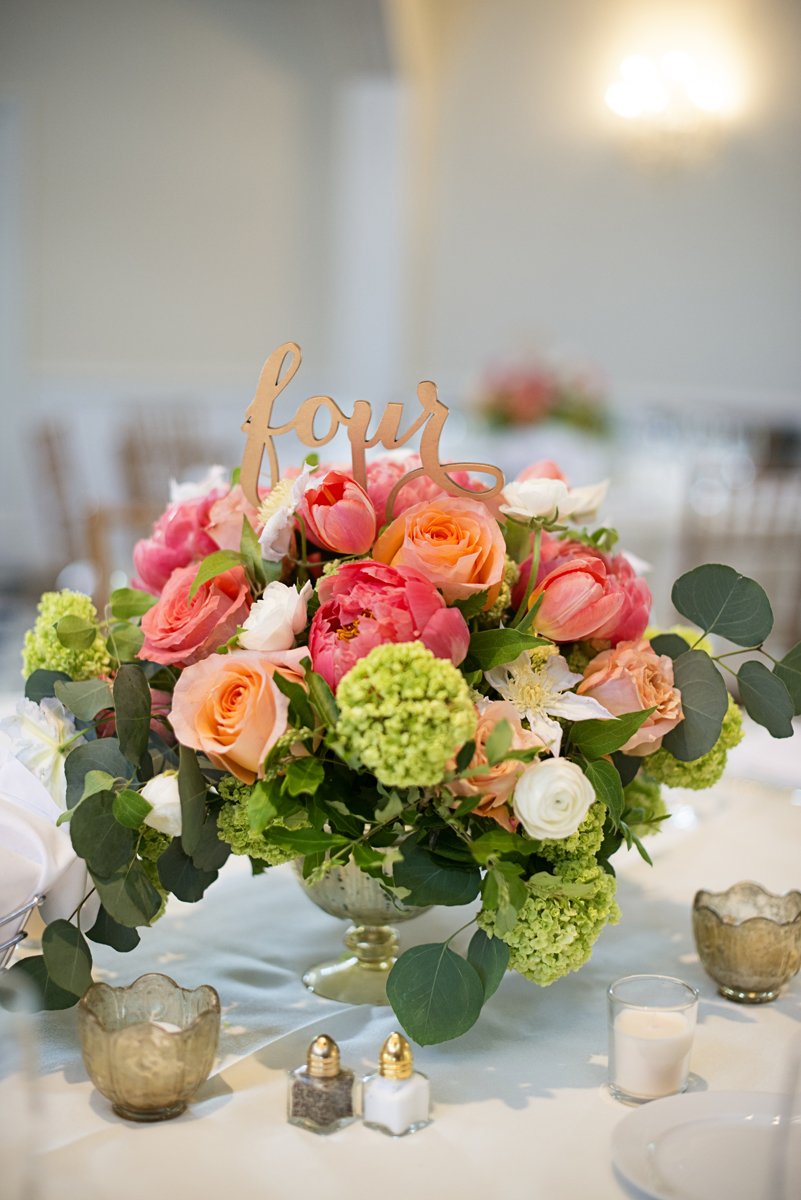 Albemarle Estate at Trump Winery Wedding | Blush and Pink Peony and Rose Centerpiece with Eucalpytus