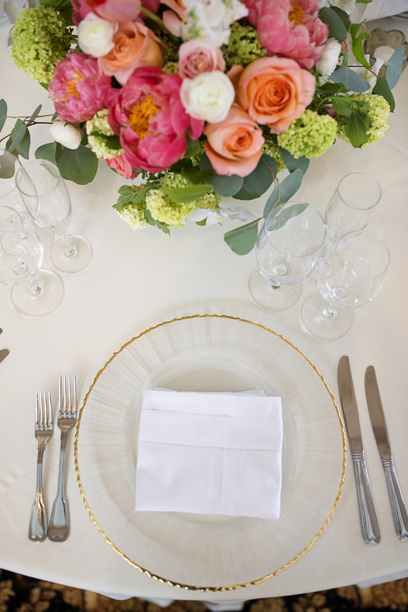 Albemarle Estate at Trump Winery Wedding | Clear and Gold Place Settings