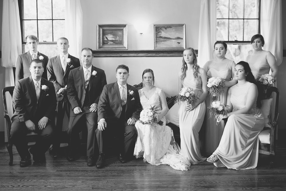 Plantation on Sunnybrook Roanoke Wedding | Classic Black and White Bridal Party