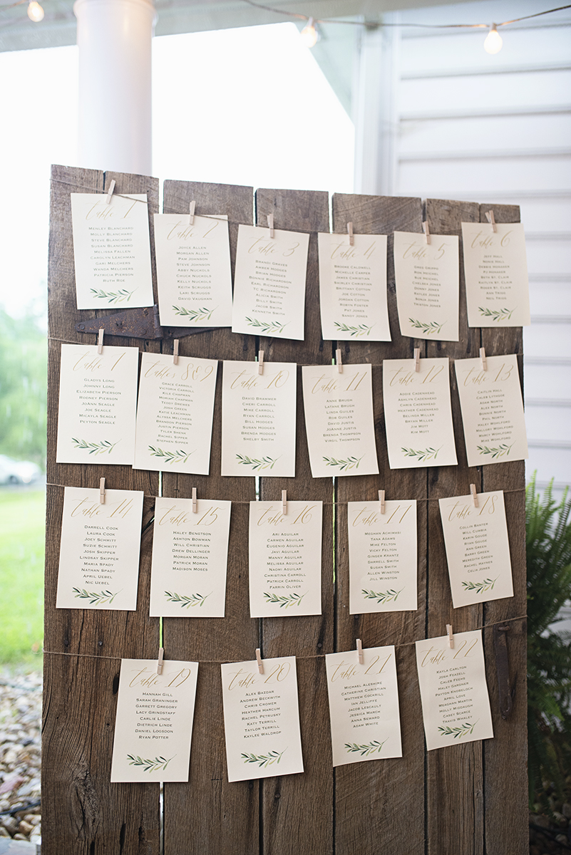 Plantation on Sunnybrook Roanoke Wedding | Green and White Wedding Namecards
