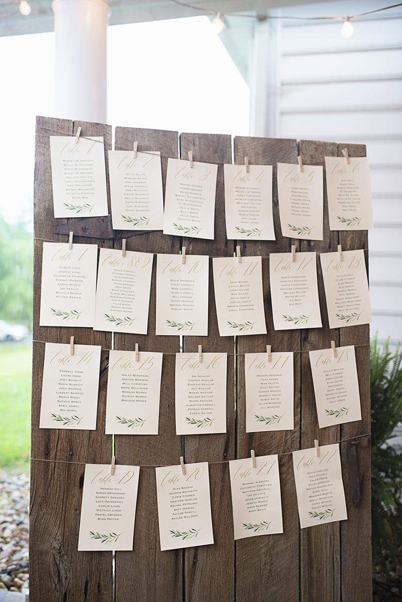 Plantation on Sunnybrook Roanoke Wedding | Green and White Wedding Namecards