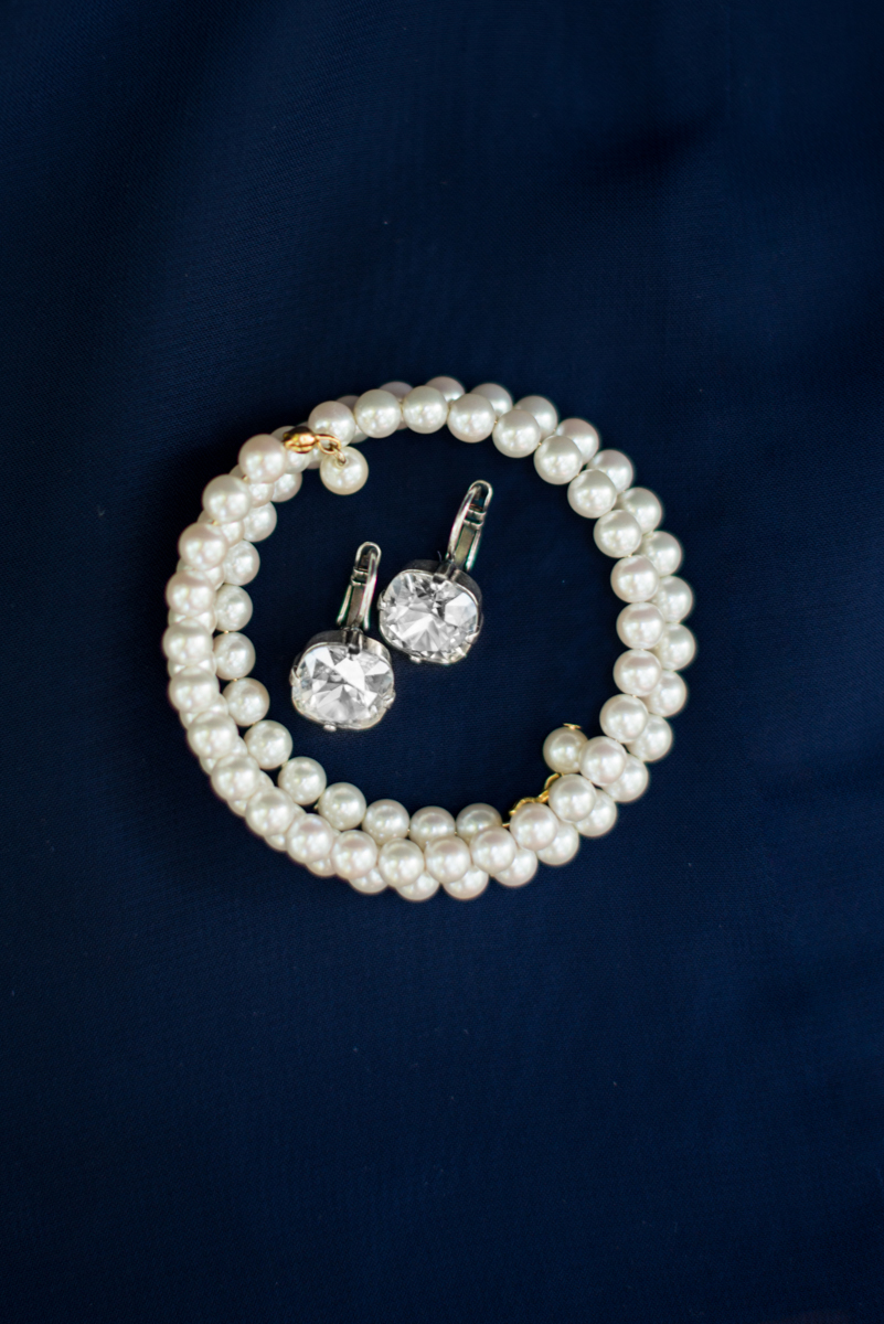 Navy Blue and Gray Summer Wedding in Virginia | Pearl bracelet and diamond earrings