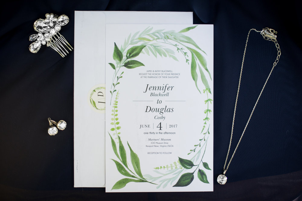 Navy Blue and Gray Summer Wedding in Virginia | White and green wedding invitations