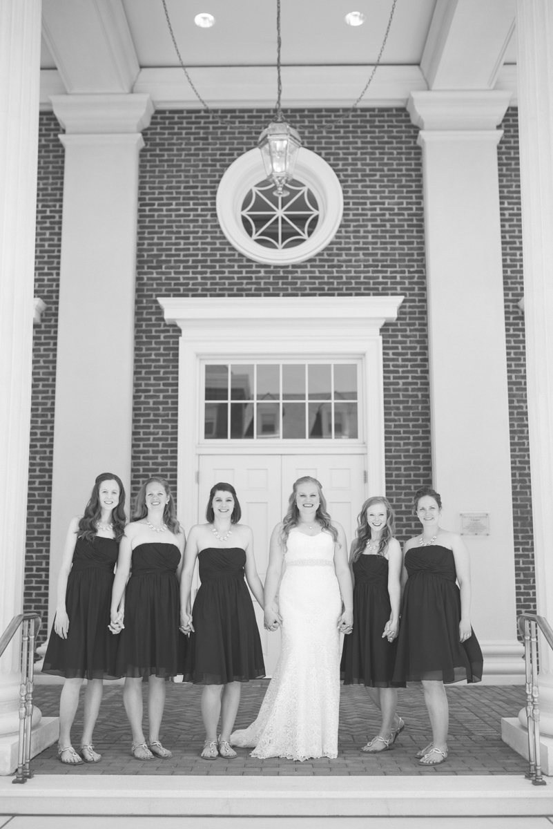 Navy Blue and Gray Summer Wedding in Virginia | Black and white bridesmaid portraits
