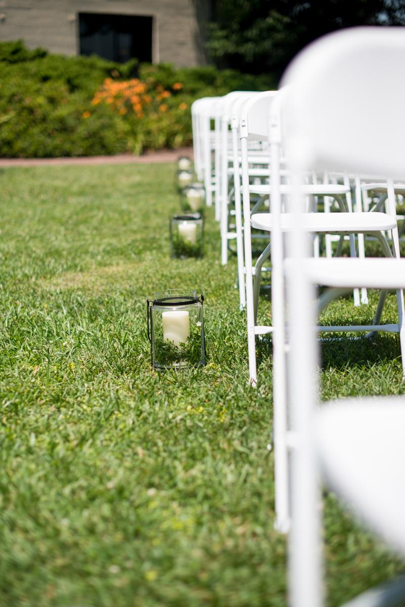 Navy Blue and Gray Summer Wedding in Virginia | Wedding ceremony lanterns