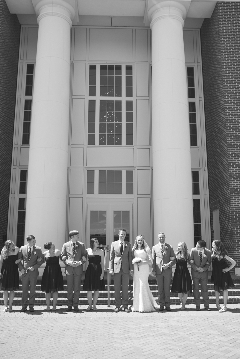 Navy Blue and Gray Summer Wedding in Virginia | Bridal party black and white