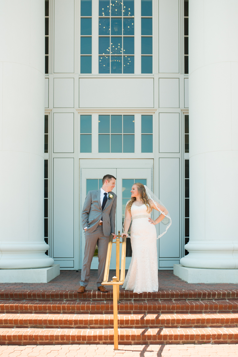 Navy Blue and Gray Summer Wedding in Virginia | Bride and groom architecture portraits