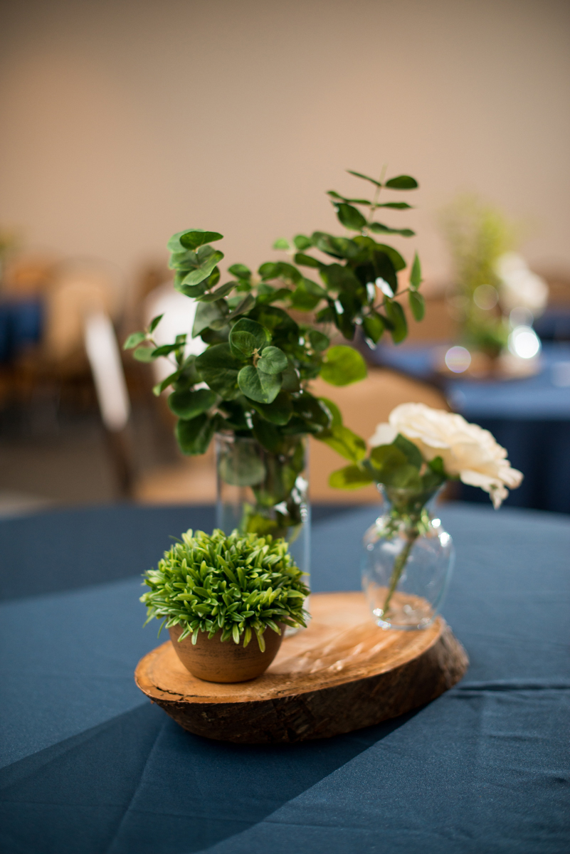 Navy Blue and Gray Summer Wedding in Virginia | Navy blue and green reception centerpiece