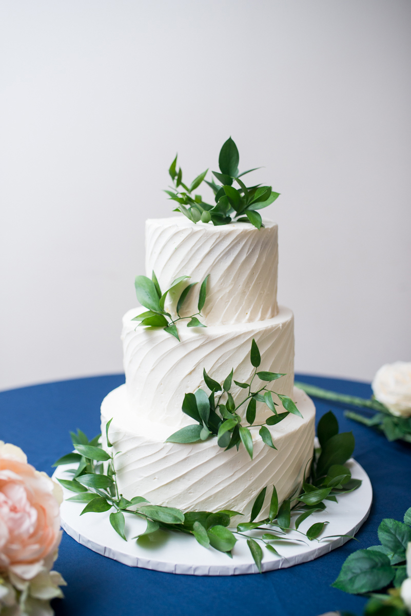 Navy Blue and Gray Summer Wedding in Virginia | White and greenery wedding cake