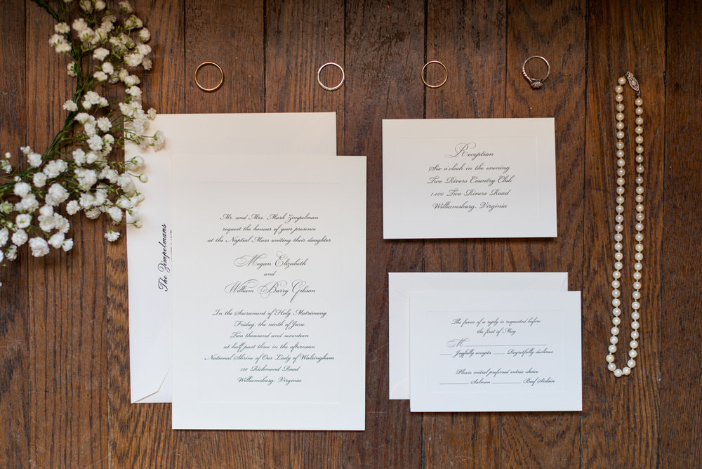 Emerald Green Classic Country Club Wedding | Traditional White Wedding Invitations