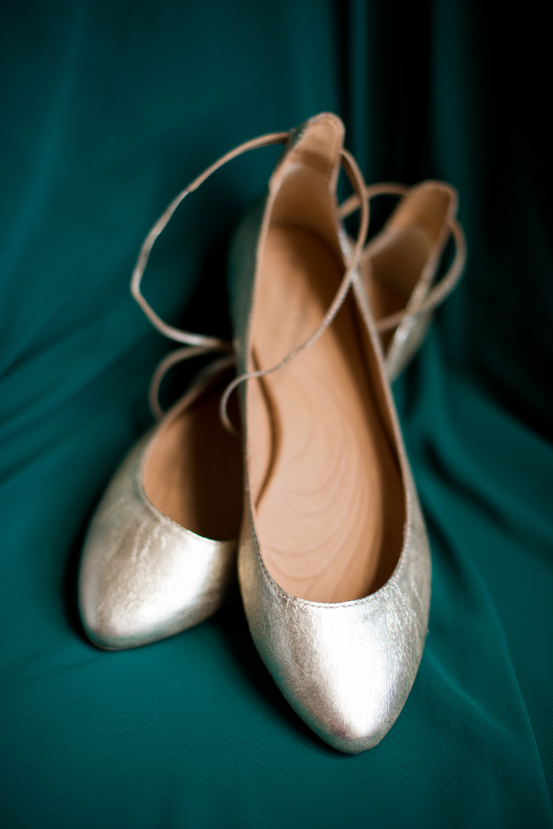 Emerald Green Classic Country Club Wedding | Gold Wedding Ballet Flats
