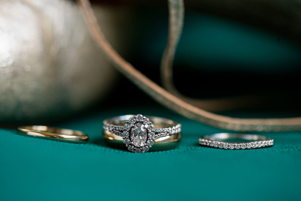 Emerald Green Classic Country Club Wedding | Gold Ballet Flat Ring Shot