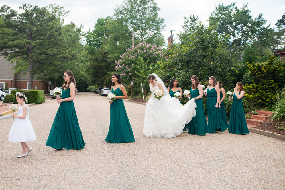 Emerald Green Classic Country Club Wedding | Bridal Party Crossing Road