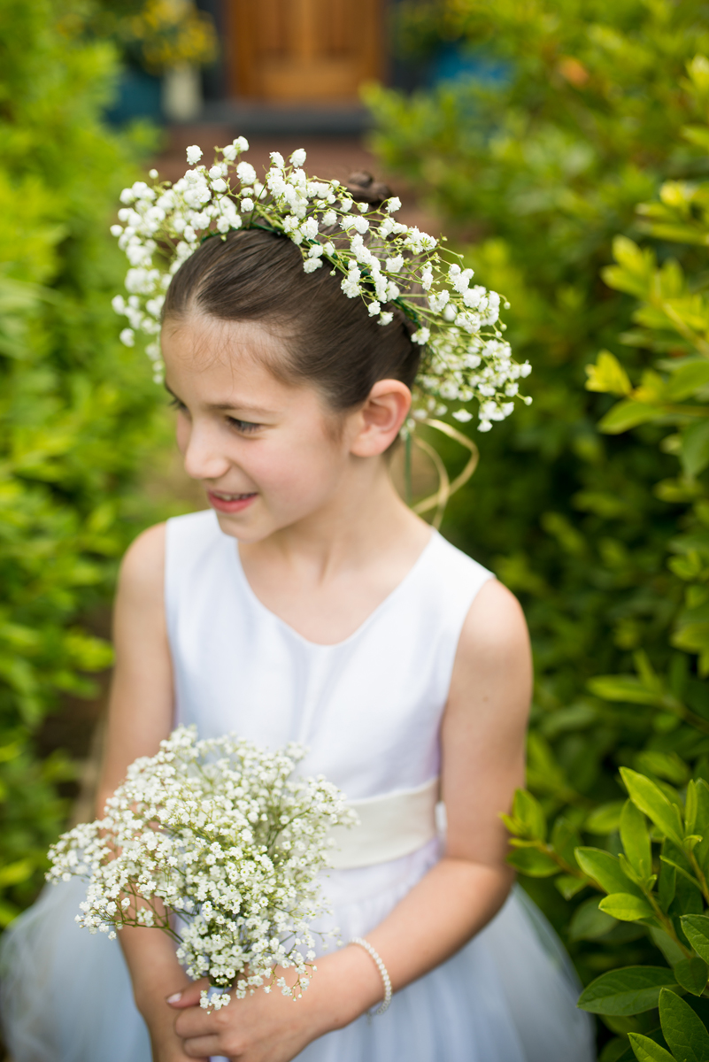 Emerald Green Classic Country Club Wedding | Flower Girl with Flower Crown