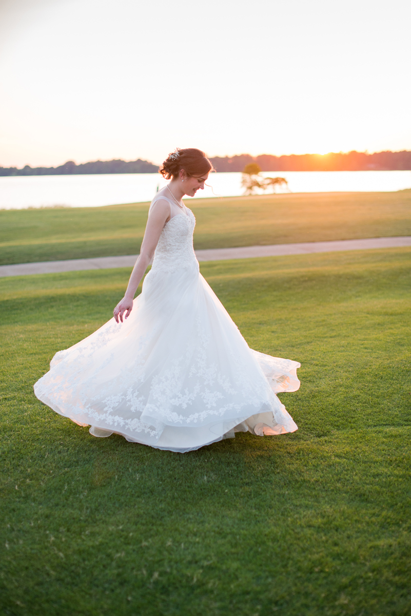 Emerald Green Classic Country Club Wedding | Bridal Portrait at Sunset