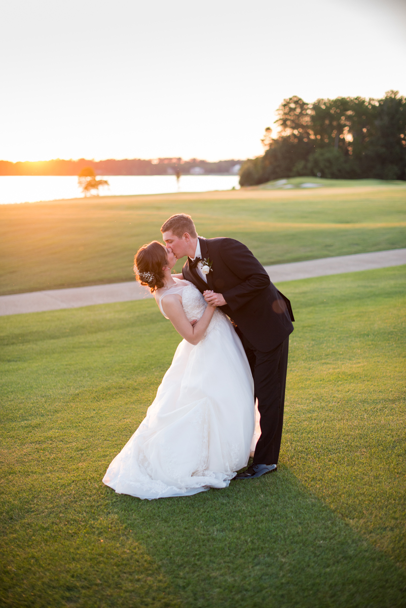 Emerald Green Classic Country Club Wedding | Bride and Groom Sunset Portraits