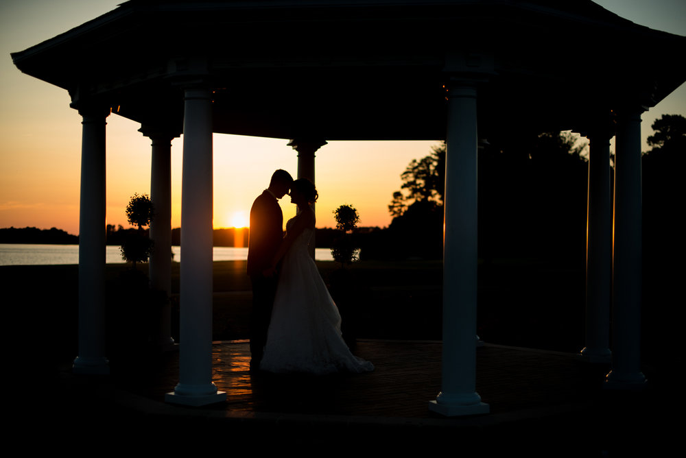 Emerald Green Classic Country Club Wedding | Bride and Groom Sunset Silhouette Portrait