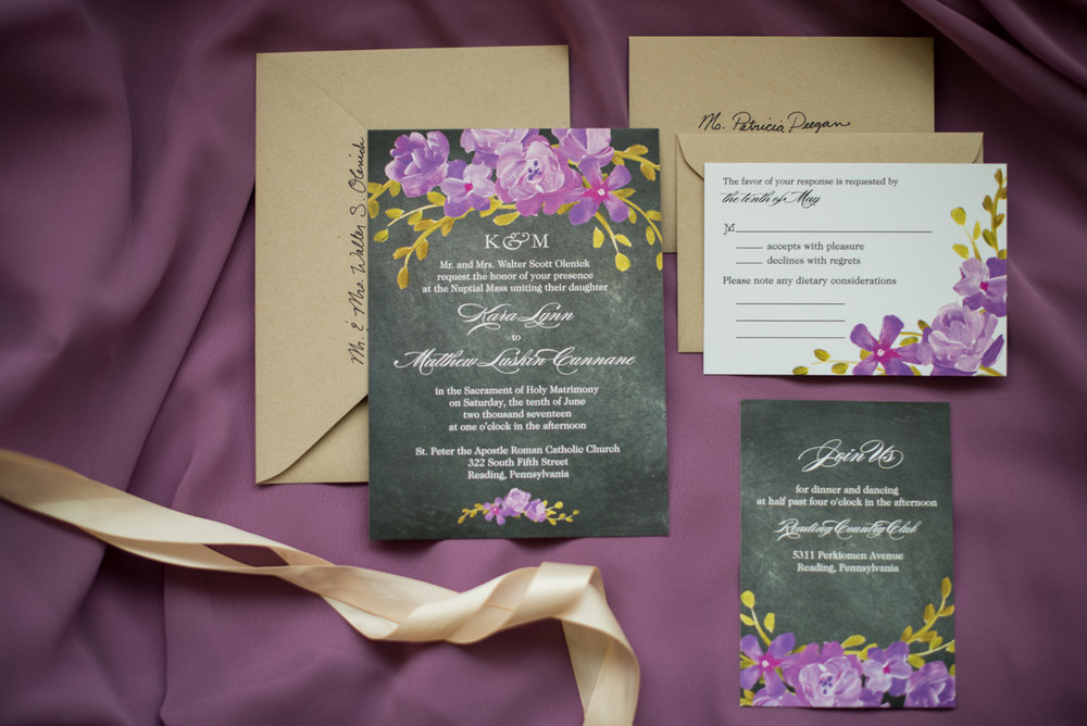 Lavender and Green Country Club Wedding | Lavender and Green Wedding Invitations