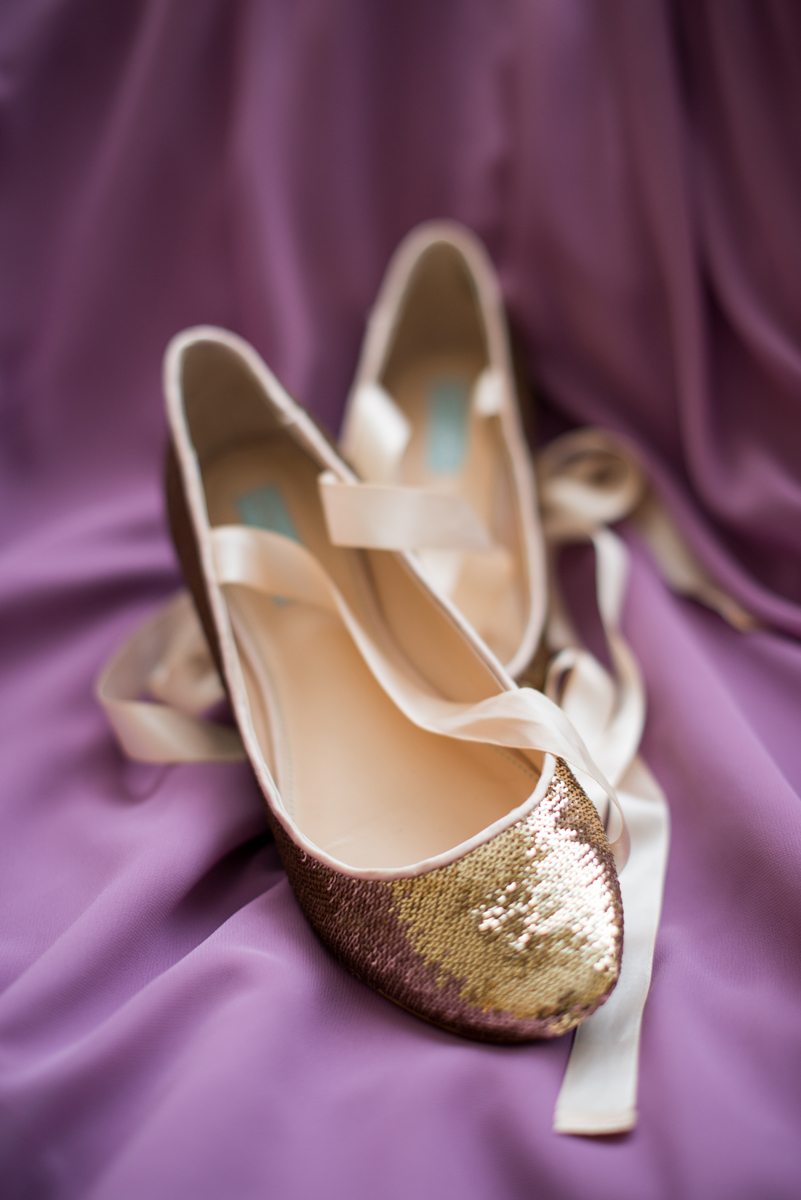 Lavender and Green Country Club Wedding | Gold Wedding Ballet Flatts