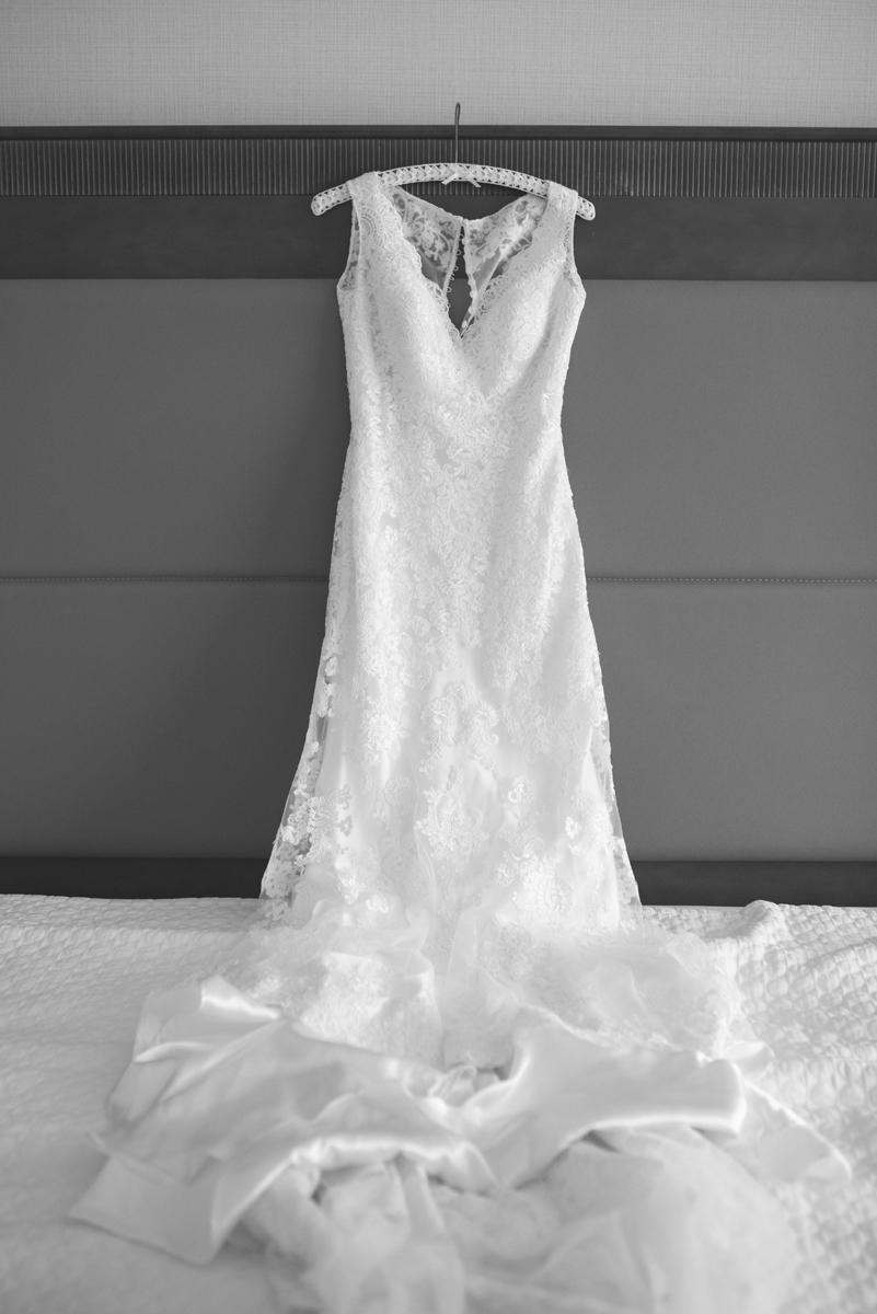 Lavender and Green Country Club Wedding | Black and White Wedding Dress