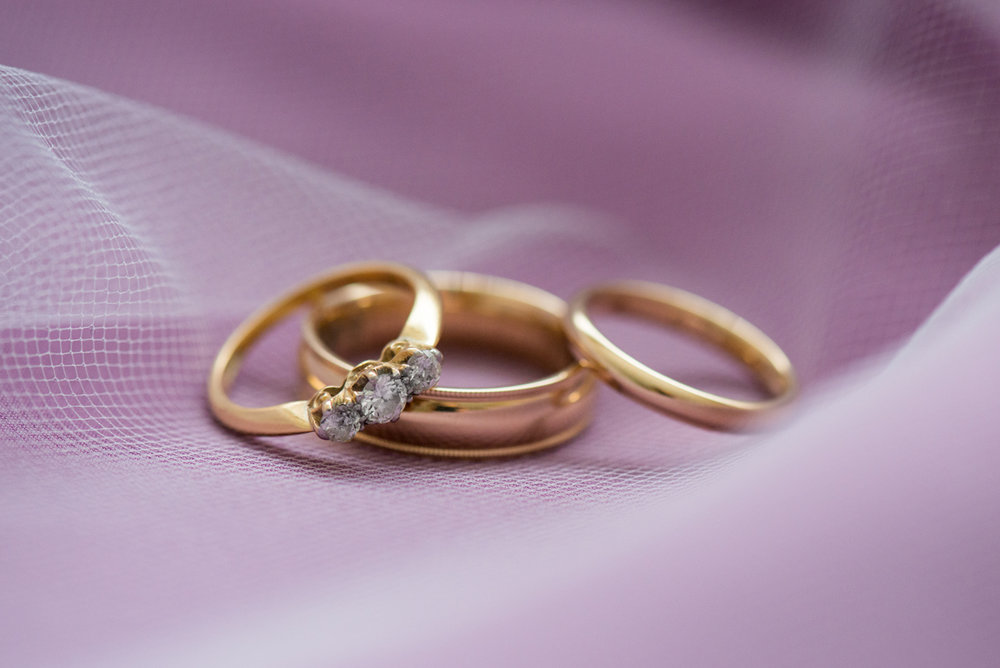Lavender and Green Country Club Wedding | Gold Wedding Ring Shot