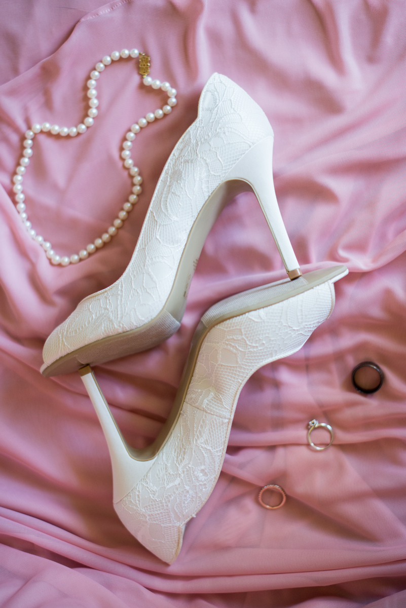 Blush and White Summer Virginia Wedding | White Bridal Shoes