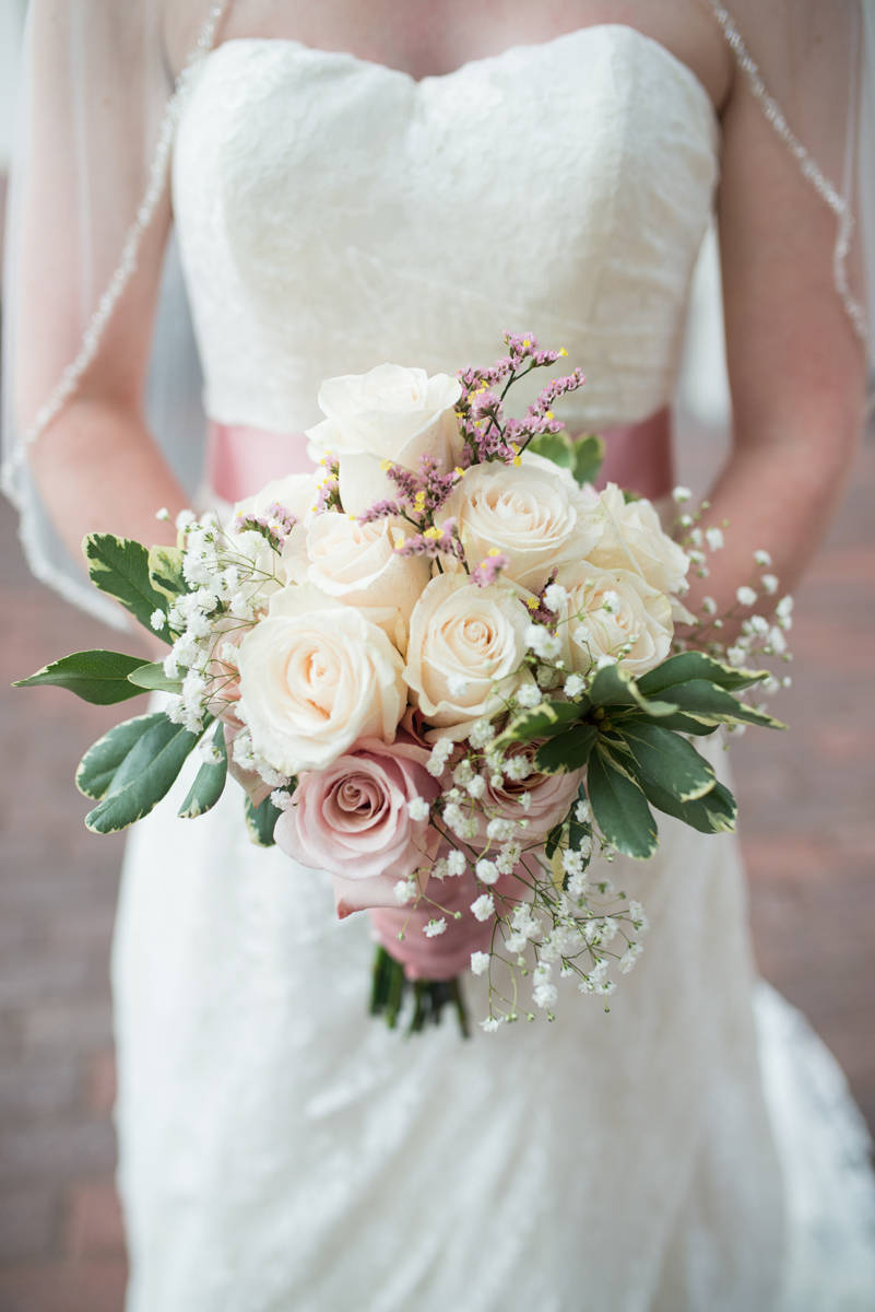 Blush and White Summer Virginia Wedding | Blush and White Rose Bridal Bouquet