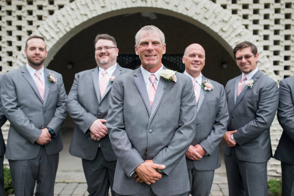Blush and White Summer Virginia Wedding | Gray and Blush Groomsmen Portraits