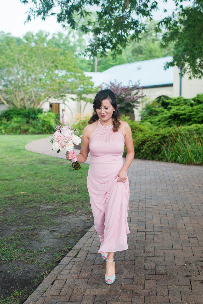 Blush and White Summer Virginia Wedding | Blush Bridesmaid Dress