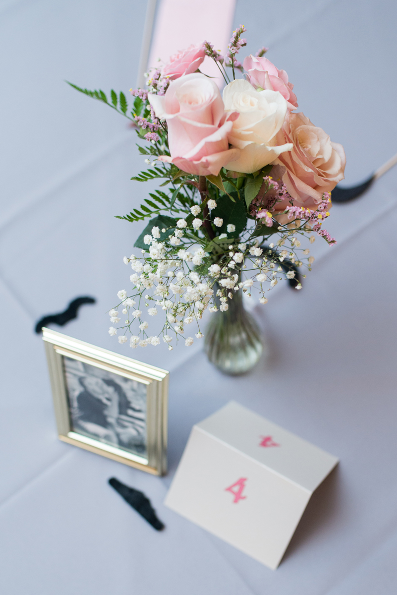 Blush and White Summer Virginia Wedding | Blush and White Rose Reception Centerpiece