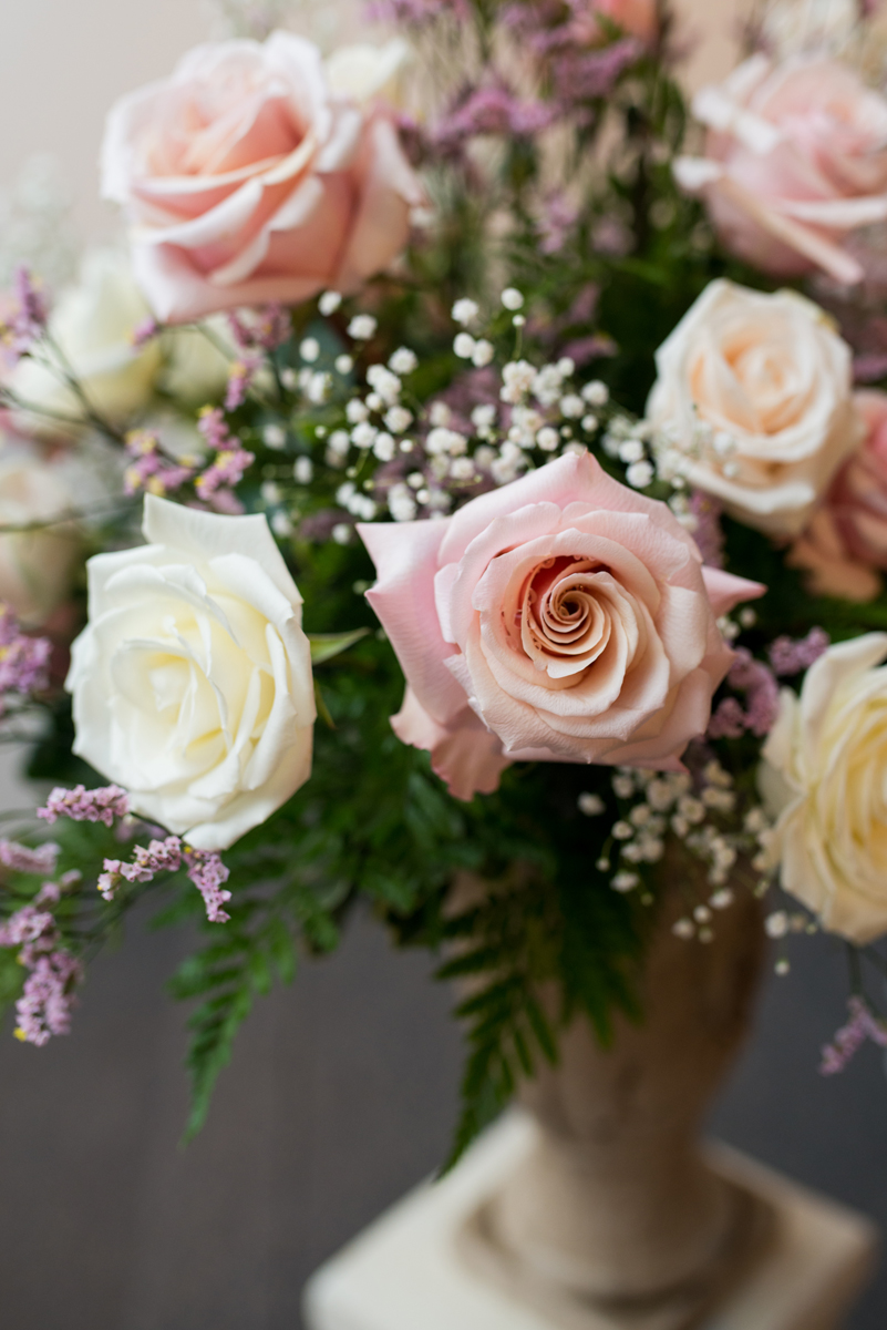Blush and White Summer Virginia Wedding | Blush and White Rose Floral Display