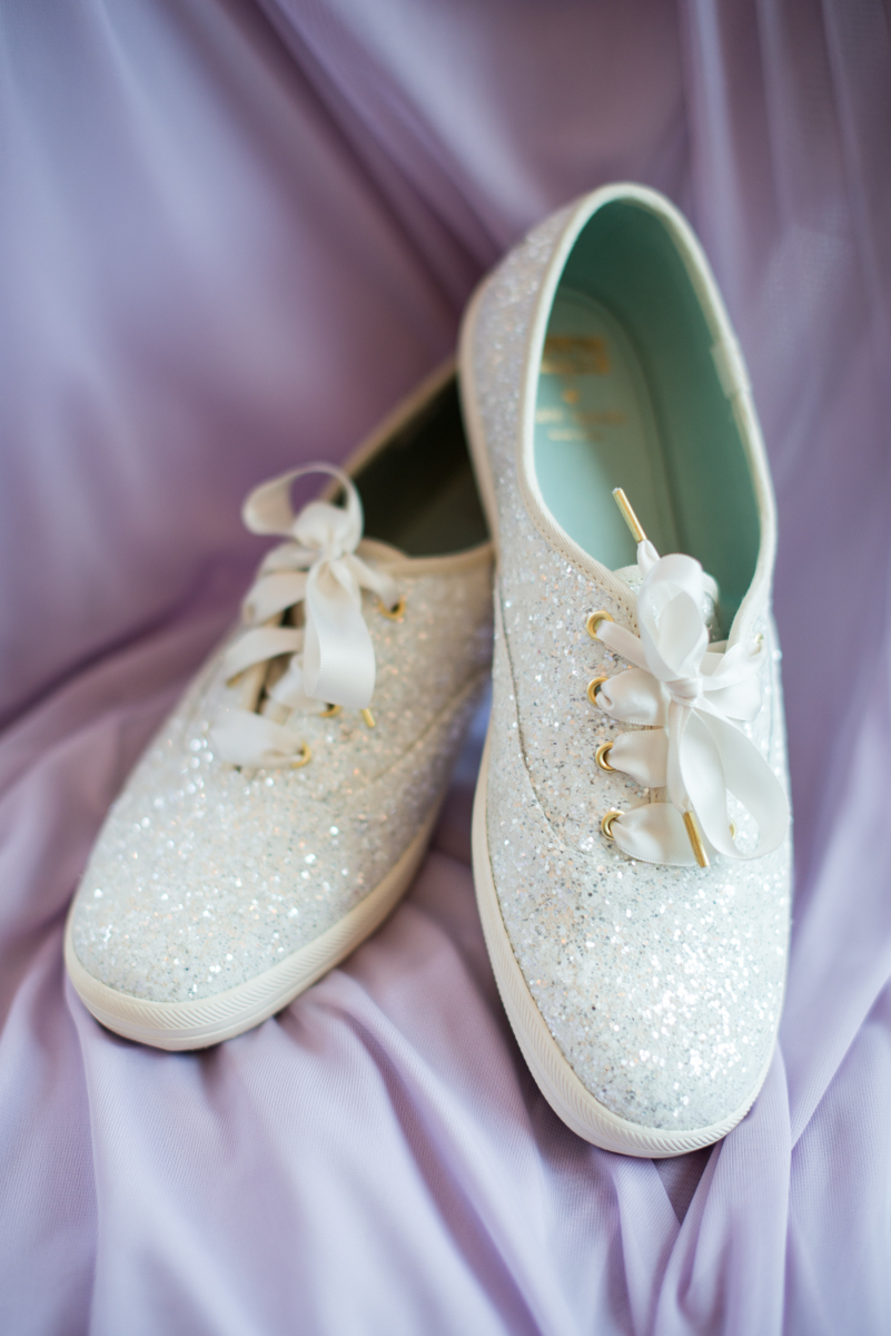 Lavender and Pale Green Summer Wedding | Kate Spade wedding sneakers
